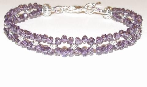 Armband kristal paars 431 | Armband paarse kristal steentjes