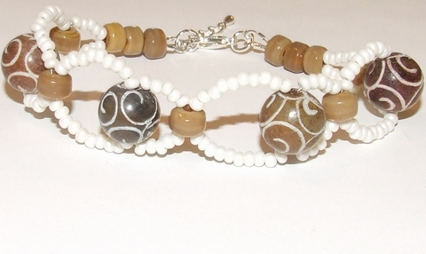 Armband bruin 87130 | Armband bruine edelstenen/glaskralen