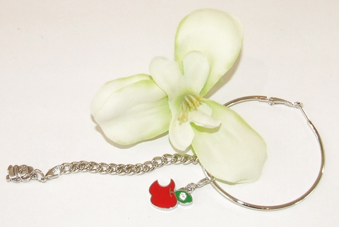 Oorbel bloem 95103   Bloemoorbel met bedels GTST