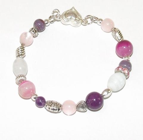 Armband roze en paars 199 | Armband met roze, paarse en wit