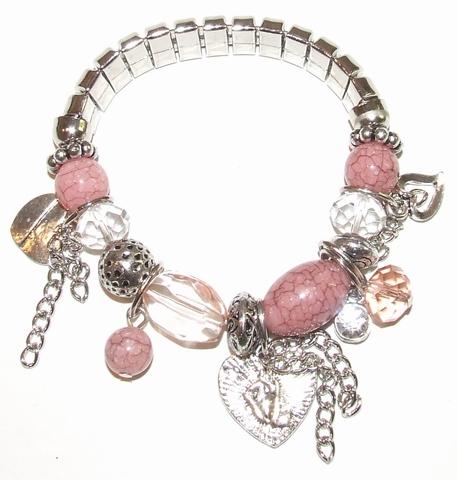 Armband oudroze 21150 | Armband met kralen en bedels