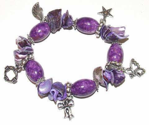 Armband paars 19003 | Paarse armband kralen/schelpen/bedels