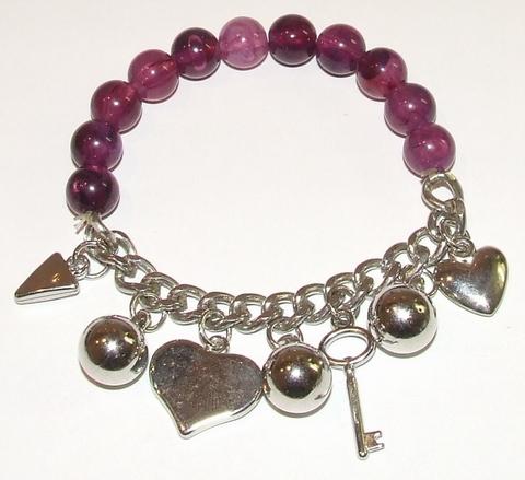Armband donkerpaars 95161 | Donkerpaarse armband met bedels