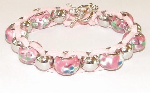 Armband Pandora 3312 | Pandora stijl armband glaskralen roze