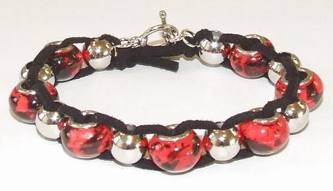 Armband 6793 | Armband Pandora stijl glaskralen rood+zwart