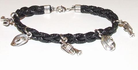 Armband veter zwart 15503 | Zwarte veterarmband met bedels