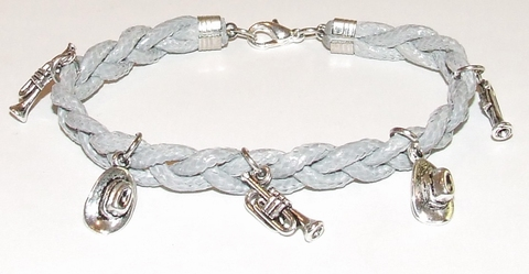 Armband veter grijs 15506 | Grijze veterarmband met bedels