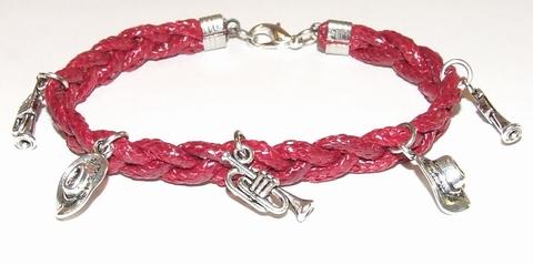 Armband rood 15511 | Bordeaux rode veterarmband met bedels