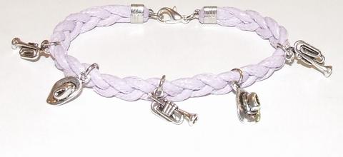Armband lila veter 15515 |  Veterarmband met bedels lila