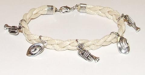 Armband veter 15531 | Veterarmband met bedels creme-kleurig