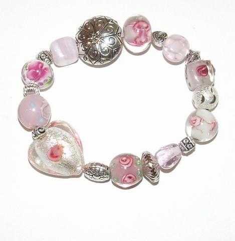 Armband roze 925   Roze glaskralen armband