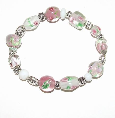 Armband roze 025 | Roze glaskralen armband