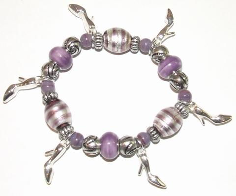 Armband paars 905 | Armband met paarse glaskralen