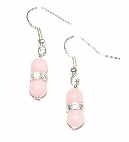 Oorbellen roze 1380   Oorbellen roze halfedelstenen/strass