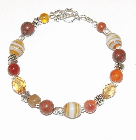 Armband bruin 654 | Armband bruine glaskralen en edelstenen