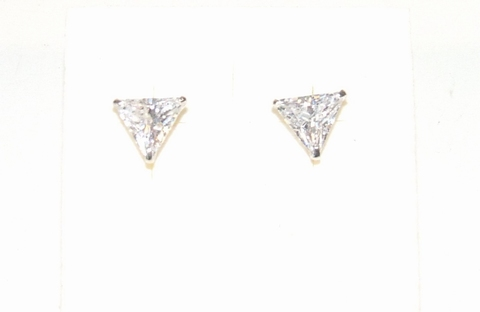 Prachtige echt zilveren strass oorknopjes driehoek