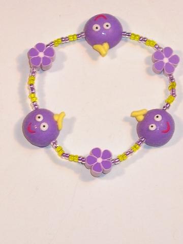 Villa Happ armbandje met vrolijke gezichtjes paars
