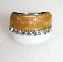 Trendy ring met echte strass steentjes bruin/wit
