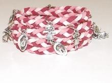 Wikkel armband met bedels tinten roze