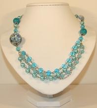 Ketting met parels en kralen turquoise