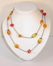 Ketting amber/oranje 1251 | Lange ketting amber/oranje