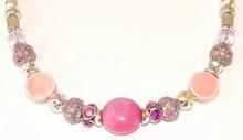 Ketting roze 9733 | Ketting natuursteen en strass roze