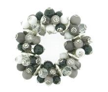 Armband kralen 21219 | Kralen armband zwart/wit/grijs
