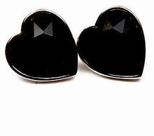 Oorbellen hart zwart 8874 | Oorbellen hart zwarte strass