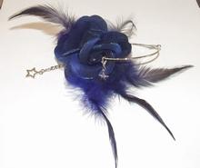 Oorbel bloem 04   Bloemoorbel met bedels donkerblauw GTST
