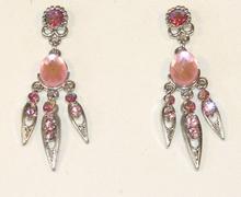 Oorbellen roze 0355 | Trendy oorbellen met strass roze