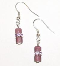 Prachtige handgemaakte oorbellen glas/strass-rondellen
