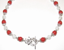 Ketting rood 19001 | Ketting glaskralen rood/helder
