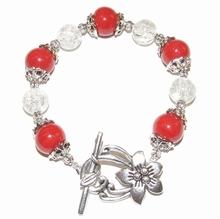 Armband rood+helder 1902   Armband glas/metaal rood+helder