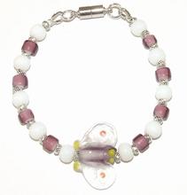Trendy handgemaakt vlinder armbandje glas/metaal