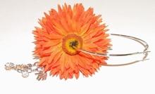 Oorbel bloem 64110 | Bloemoorbel met bedels GTST oranje