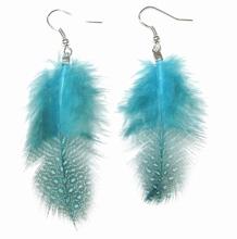 Oorbellen veer turquoise 708011 | Veeroorbellen turquoise