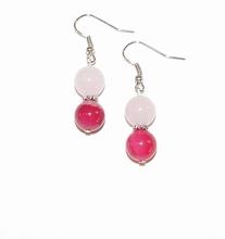 Oorbellen roze 1528 | Roze agaat edelstenen oorbellen