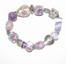Armband paars 859 | Paarse glaskralen armband