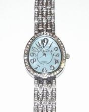 Horloge ovale blauwe wijzerplaat met strass steentjes