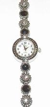 Horloge parelmoer wijzerplaat met zwarte en heldere strass
