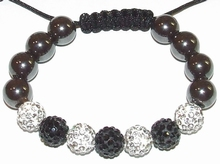 Armband zwart helder 100 | Shamballa armband Hot!